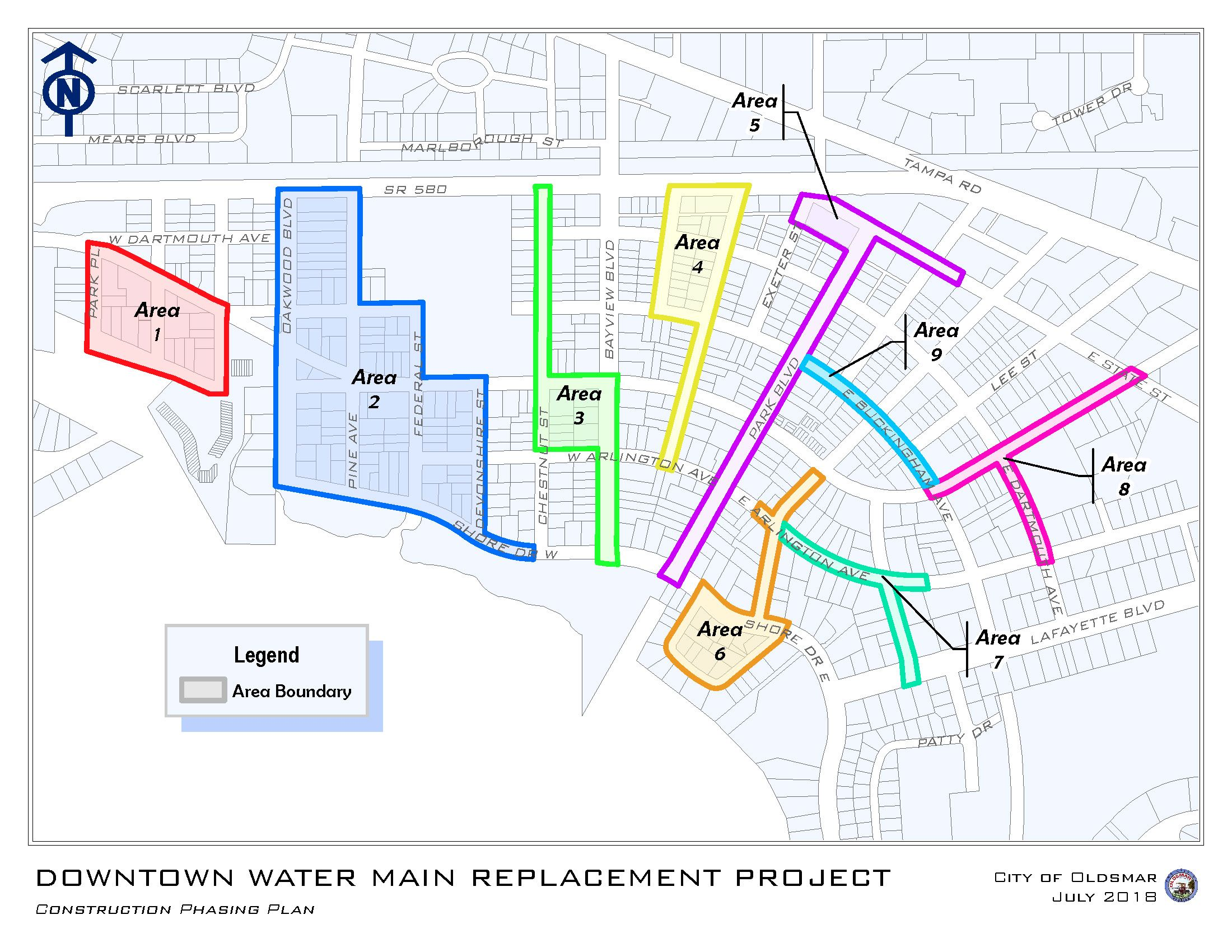 Map of Construction Phases for Downtown Water Main Replacement Project.