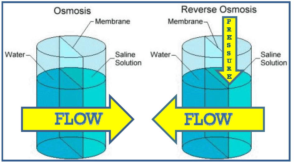 Diagram showing that Osmosis is when fresh water naturally flows towards salt water and Reverse Osmo