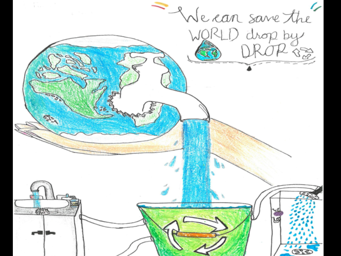 Picture showing an earth pouring water into a recycle bin that feeds the water of shower and sink.